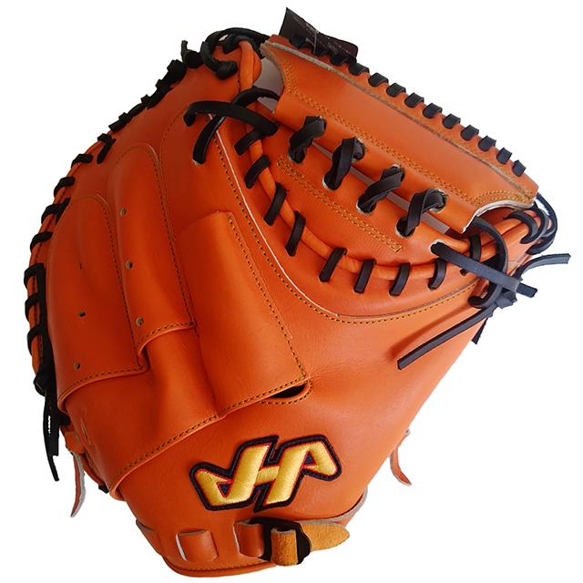 【ハタケヤマ】硬式野球用キャッチャーミット、カラーオレンジ表