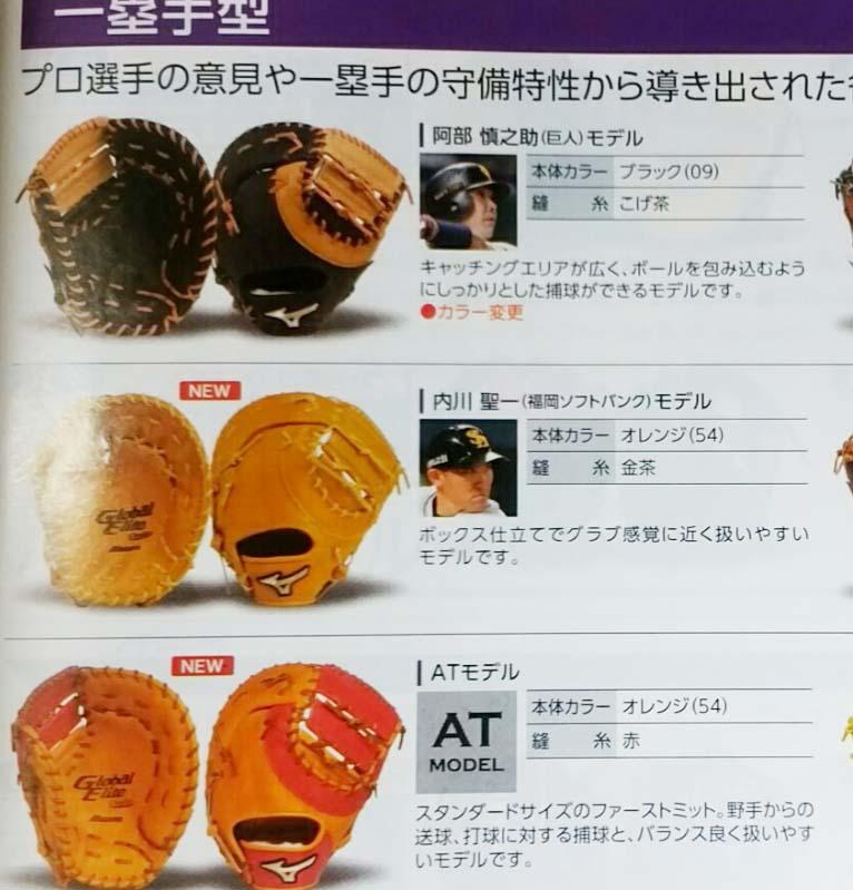 【ミズノプロ】硬式野球用ファーストミット(内川聖一モデル・限定)1AJFH21000・カタログ