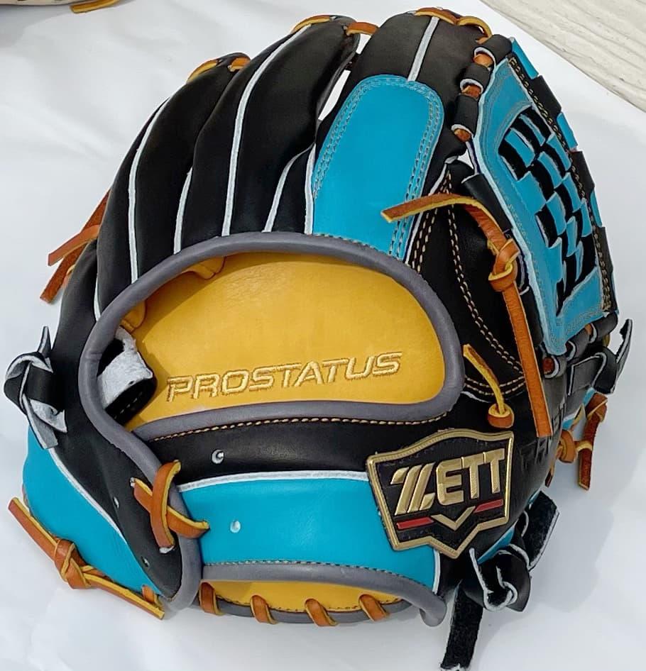 【源田壮亮選手モデル】ゼットプロステータス軟式野球用グラブ(内野手用・限定モデル) 青 ベルト