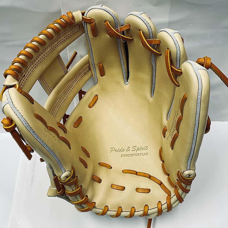ゼットプロステータス硬式野球用グラブ(今宮モデル・パステルブラウン・ショート・セカンド・右投)捕球面