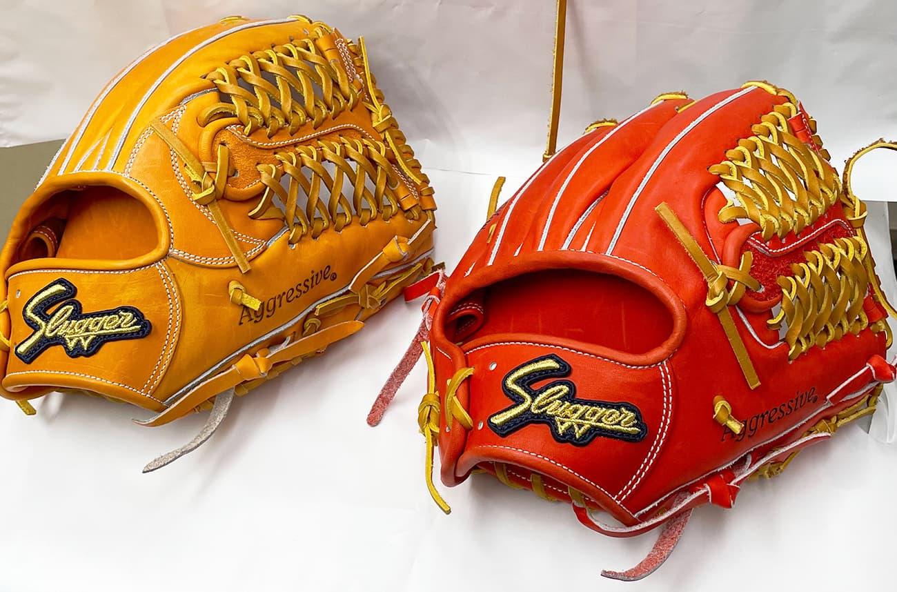 鳥谷敬モデル「T1」と「M00」の比較(久保田スラッガー硬式野球用グラブ・内野手)表面