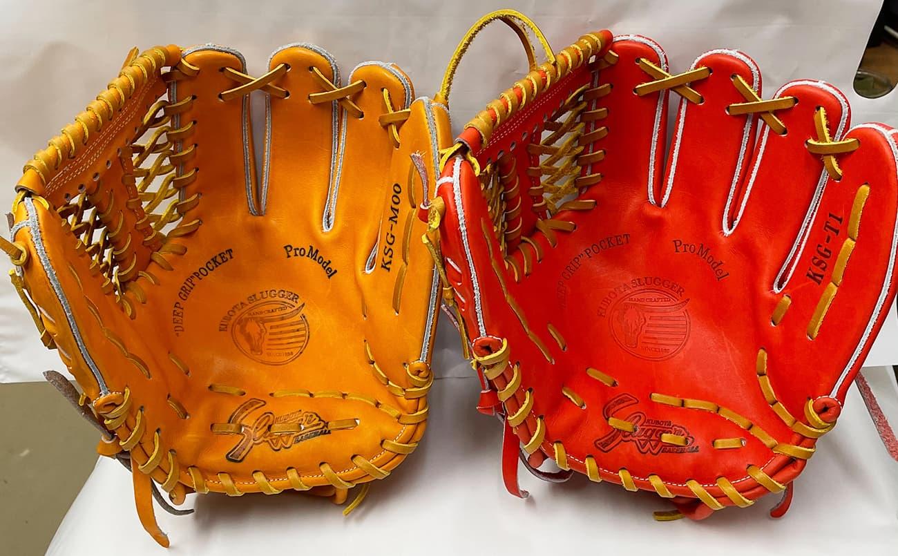 鳥谷敬モデル「T1」と「M00」の比較(久保田スラッガー硬式野球用グラブ・内野手)捕球面1