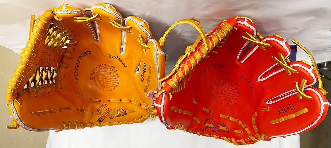鳥谷敬モデル「T1」と「M00」の比較(久保田スラッガー硬式野球用グラブ・内野手)捕球面2