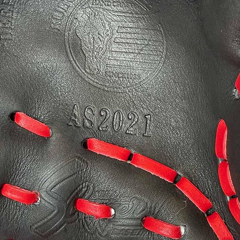【久保田スラッガー】軟式野球用グラブ・グローブ(2021オールスター限定モデル・内野手用)SP-2021G・捕球面のAS2021の刻印