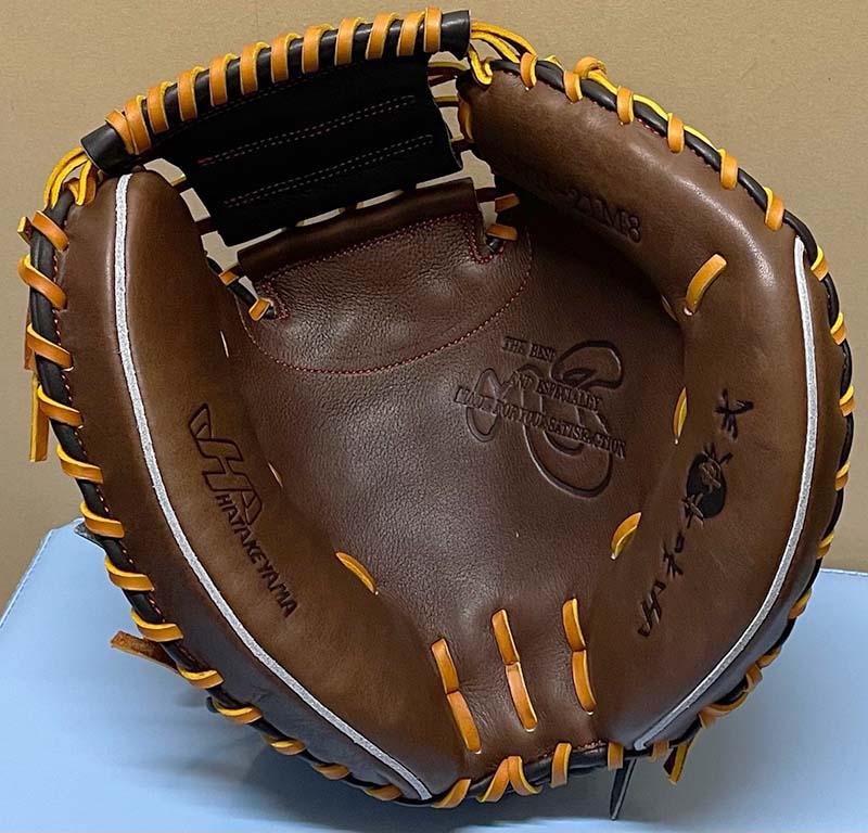 【ハタケヤマ】軟式野球用和キャッチャーミット(牛皮革仕様)WN-21M8・捕球面