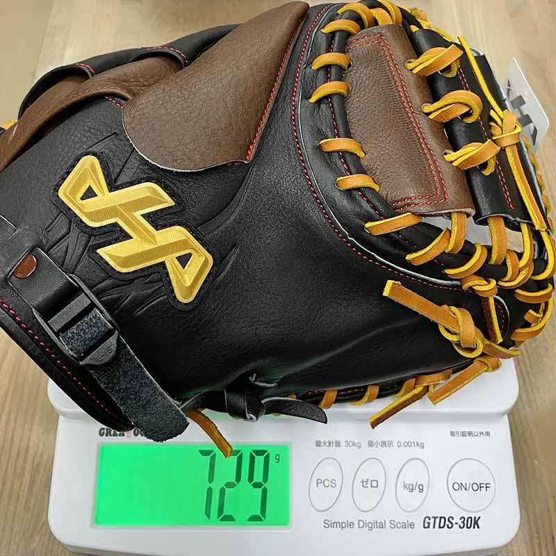 【ハタケヤマ】軟式野球用和キャッチャーミット(牛皮革仕様)WN-21M8・重さ729g