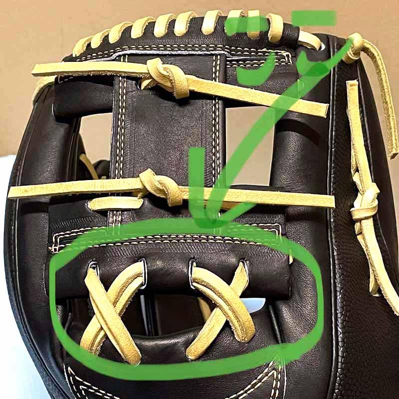 【ウイルソン】硬式野球用グラブ・グローブ(内野手・限定カラー)WTAHWH87H・Hウェッブの下の方の革ひもを2重に補強