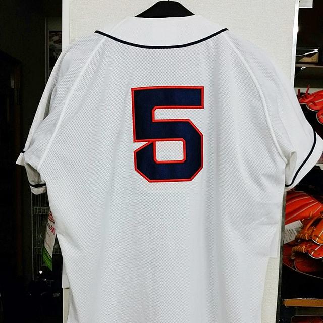 野球ユニフォーム「ふち取り刺繍背番号」